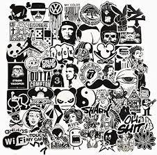 100% <b>NEW</b>-<b>60Pcs</b> Black and White Laptop Motorcycle Skateboard ...