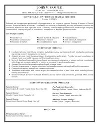 director resume funeral director resume