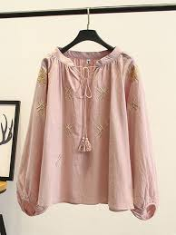 Embroidery Tassel <b>Lantern</b> Sleeve V-Neck <b>Plus Size</b> Blouse - Newchic