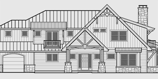 Timber Frame House Plans  Craftsman House Plans  Custom House PlaHouse rear elevation view for Timber frame house plans  craftsman house plans  custom