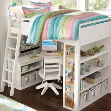 lovely loft beds for teenagers in white with colorful stripped bedding and desk plus helves on bedroomlovely white wood office chair