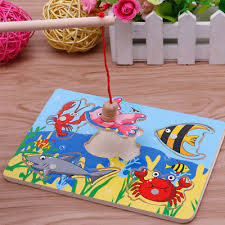 Funny Fishing Game & <b>Wooden Ocean Jigsaw Puzzle</b> Board ...