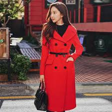 <b>Dabuwawa Women Red Long</b> Coat New Turn down Collar Double ...