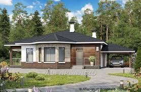 Стильный одноэтажный дом с эркером и гаражом-<b>навесом</b>