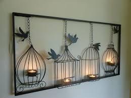 iron wall decor u love: birdcage tea light wall art metal wall hanging candle holder black bird