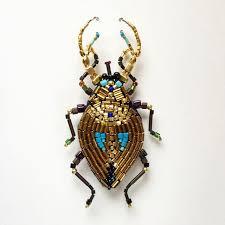 Золотой жук, брошь, 9.5 см вышивка на льне, гематит, японский ...