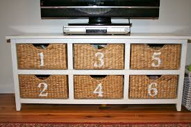 white storage unit wicker: natural nice furniture storage with baskets that can be applied on the wooden floor can add