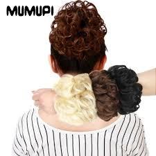 Online Shop MUMUPI Hair Extensions <b>Wavy Curly</b> Messy Hair Bun ...