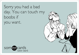 Sorry you had a bad day. You can touch my boobs if you want ... via Relatably.com
