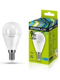 Светодиодная <b>лампочка</b> LED <b>9W</b> 4500К <b>E14 Ergolux</b> 10267277 в ...