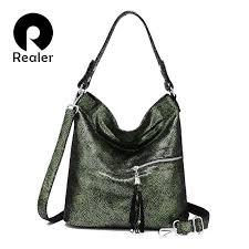 REALER bag set <b>women handbag genuine leather</b> shoulder ...