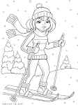 Девочка на лыжах раскраска