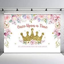 Mocsicka <b>Princess</b> Birthday Party Backdrop Gold Glitter Crown <b>Floral</b>