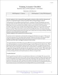 employee training assurance checklist restaurant consulting employee training assurance checklist