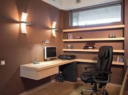 interesting small home office ideas with wall sconces and floating desk and shelves awesome shelfs small home office