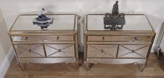 pair funky art deco mirrored bedside chest drawers tables art deco mirrored furniture