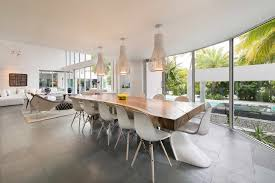 dining room in modern mansion in miami amazing lighting