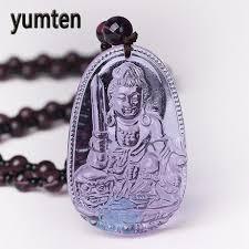 Yumten Amethyst Necklace <b>Natural Stone Pendant</b> Buddha ...