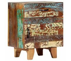 "vidaXL Hand Carved <b>Bedside Cabinet</b> 15.7""x11.8""x19.7"" Solid ..."