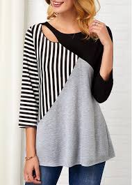 Stripe Print <b>Hollow</b> Front <b>Three Quarter Sleeve</b> T Shirt | modlily.com ...