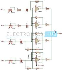 multi channel audio mixer circuit using lm3900 circuit diagram of multi channel audio mixer using lm3900