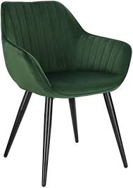 <b>Dining chair with</b> armrests made of velvet and metal legs - model ...