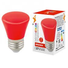 <b>Лампа</b> светодиодная <b>LED</b>-<b>D45</b>-<b>1W</b>/<b>RED</b>/<b>E27</b>/<b>FR/С BELL</b> красный ...