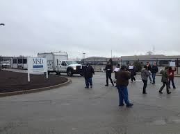protesters stop trucks at msd facility call for contract protesters blocking a truck from leaving an msd facility this morning