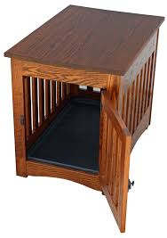 pictured above mission style end table dog crate in oak furniture style dog crates