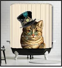 small bathroom clock: steampunk cat shower curtain kitty cat shower curtain