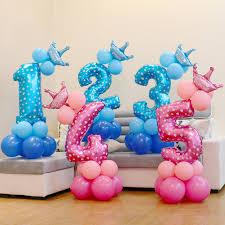 13pcs/set Birthday Blue Pink Number Foil Balloons 1 2 3 4 <b>5</b> 6 7 8 9 ...