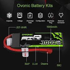 <b>Ovonic</b> 2 Packs <b>3S 11.1V 3000mAh</b> 50C Lipo Battery with Dean ...