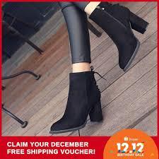 <b>Women Flock</b> Ankle Boots Pointed Toe Winter Martin <b>High Heels</b> ...