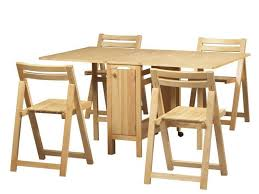 Folding Dining Room Chair Unstained Birch Wood Foldable Dining Table Set With Wheels Added