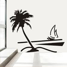 palm tree wall stickers: large vinyl wall decal sticker coconut palm tree sailboat living room artchina mainland