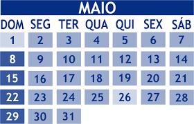 Resultado de imagem para calendario maio de 2016