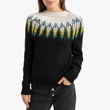 Пуловер жаккардовый с круглым вырезом черный <b>La Redoute</b> ...