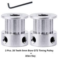 Aarya 3D <b>2 Pcs</b> - 20 <b>Teeth</b> Gt2 Timing Pulley 5mm Bore for 6mm Belt ...