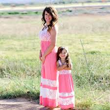 Family Matching <b>Outfits mother daughter dresses</b> Ankle Length Maxi ...
