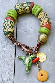 Rustic African <b>Tribal</b> Green Orange Krobo Bead Cow <b>Skull</b> Charm ...