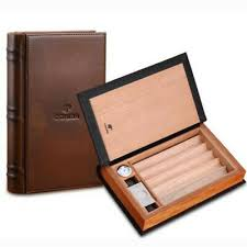 <b>COHIBA Brown Cigar Leather</b> Case Book Style 5 <b>Cigars</b> Cedar ...