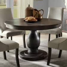 kitchen pedestal dining table set: homelegance dandelion round pedestal dining table in distressed taupe