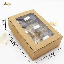 <b>20pcs</b>/<b>lot</b> 18X12X5cm kraft paper 6 moon cakes in <b>box</b> with PVC ...