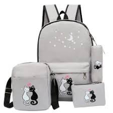 4PCS /Set Women Backpack Cat Printing Canvas School ... - SUNSKY