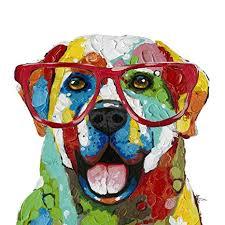 Labrador Colorful Glasses Dog Wall Art Modern ... - Amazon.com