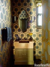 hbx aqua geometric wallpaper bathroom