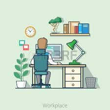 cartoon bonsai linear flat line art style business workplace office interior desk concept businessman add bonsai office interior