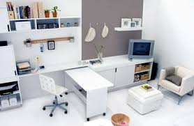 amusing design of the white table added with white wall and white floor ideas with grey amusing design home office