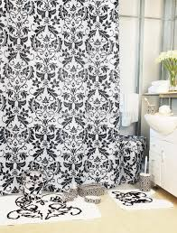bath sets shower luxury damask black bathroom set shower curtain with bath rug sets