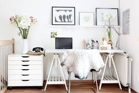 contemporary home office with scandinavian interior home furniture and with beautiful flowers in vase beautiful white home office